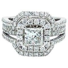 3.01 Carat Princess Cut Diamond Ring 18 Karat Gold
