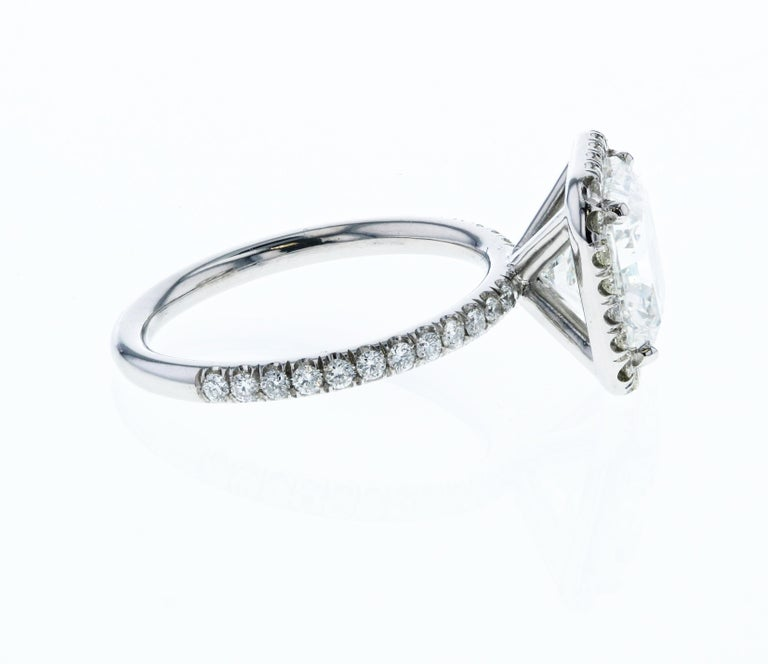 One of the more luxurious cuts of diamonds are radiant cuts. Radiants can be more elongated or square and straddle the edge between being a cushion shape and a princess cut. Radiant cuts combine the best of both worlds.   This gorgeous 3.01 carat