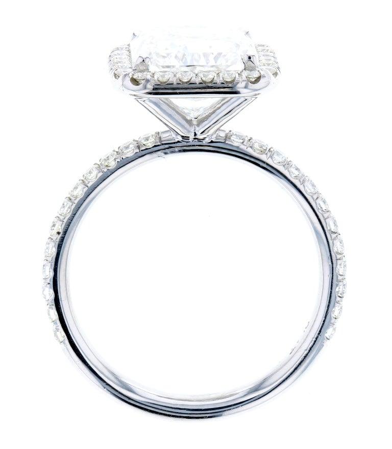 Modern 3.01 Carat Radiant Cut Diamond Engagement Ring GIA in Platinum Diamond Halo For Sale