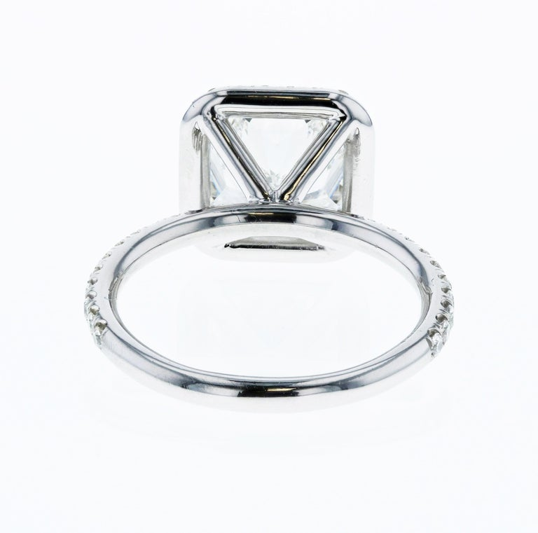3.01 Carat Radiant Cut Diamond Engagement Ring GIA in Platinum Diamond Halo In New Condition For Sale In Los Angeles, CA