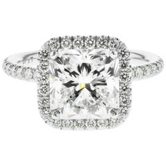 3.01 Carat Radiant Cut Diamond Engagement Ring GIA in Platinum Diamond Halo