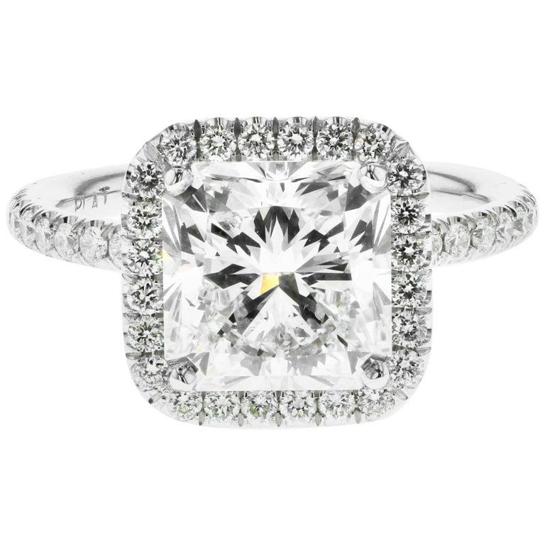 3.01 Carat Radiant Cut Diamond Engagement Ring GIA in Platinum Diamond Halo For Sale