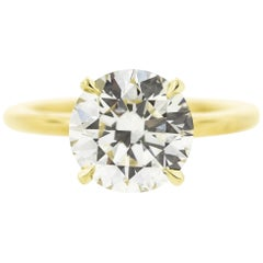 3.01 Carat Round Diamond Engagement Ring in Yellow Gold 'GIA'