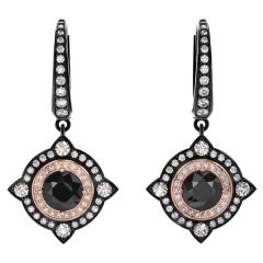 3.01 Carat Total Black Diamond Dangle Two-Tone Earrings in 14 Karat
