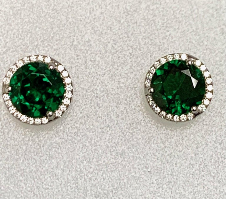 3.01  Carat round Tsavorites Garent set in 18k white gold martini style earrings with 0.17 carat pave set diamonds