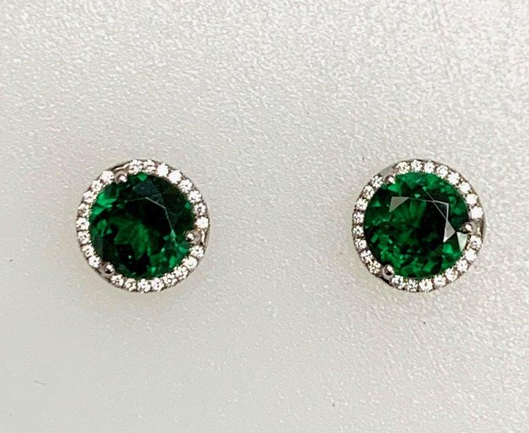 Modern 3.01 Carat Tsavorites Diamond Earrings For Sale