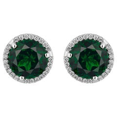 3.01 Carat Tsavorites Diamond Earrings