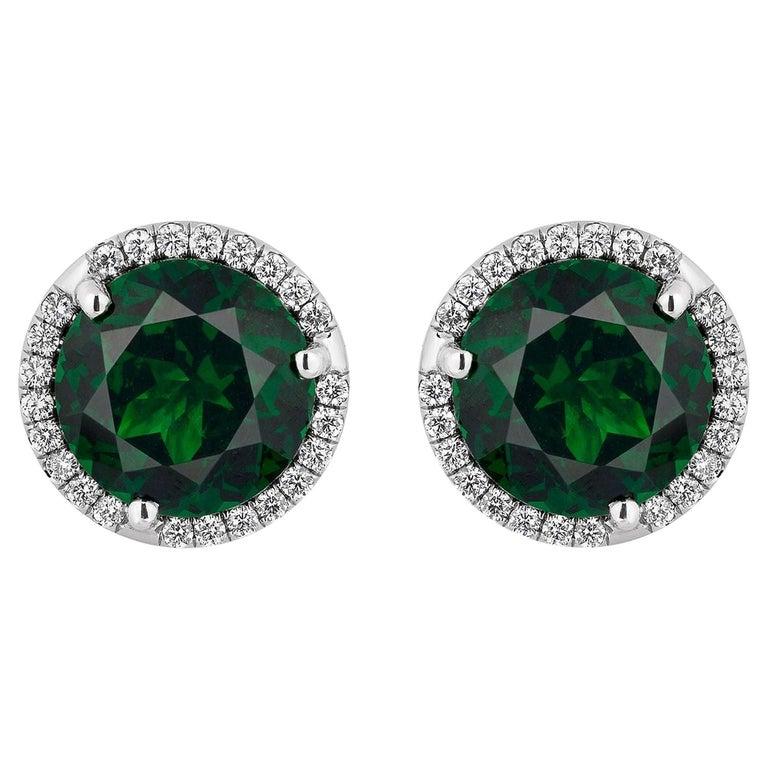 3.01 Carat Tsavorites Diamond Earrings For Sale