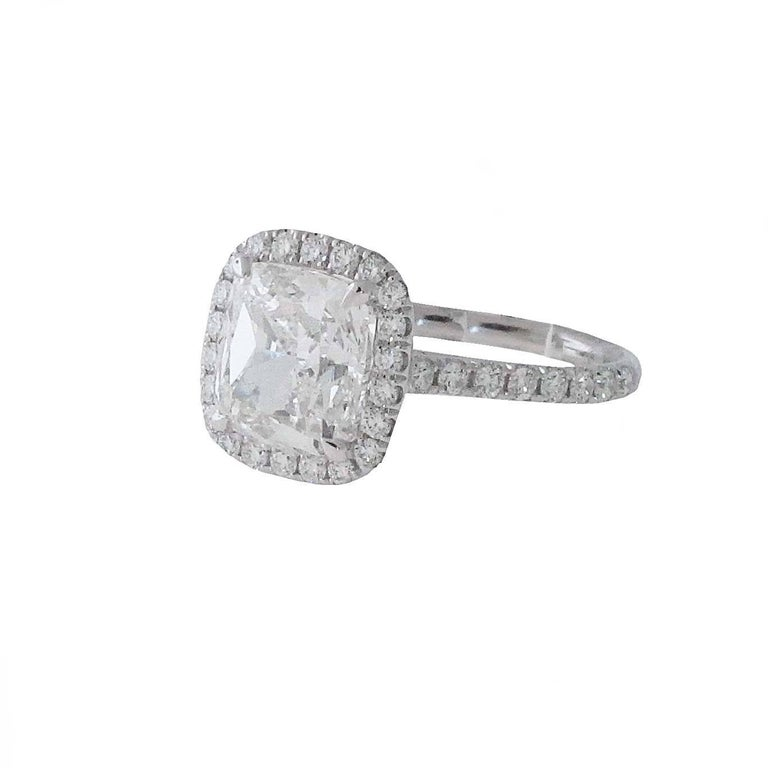 Cushion Cut 3.01 GIA Certified G-VVS1 Cushion Diamond Halo Engagement Ring. Retail $112,000 For Sale