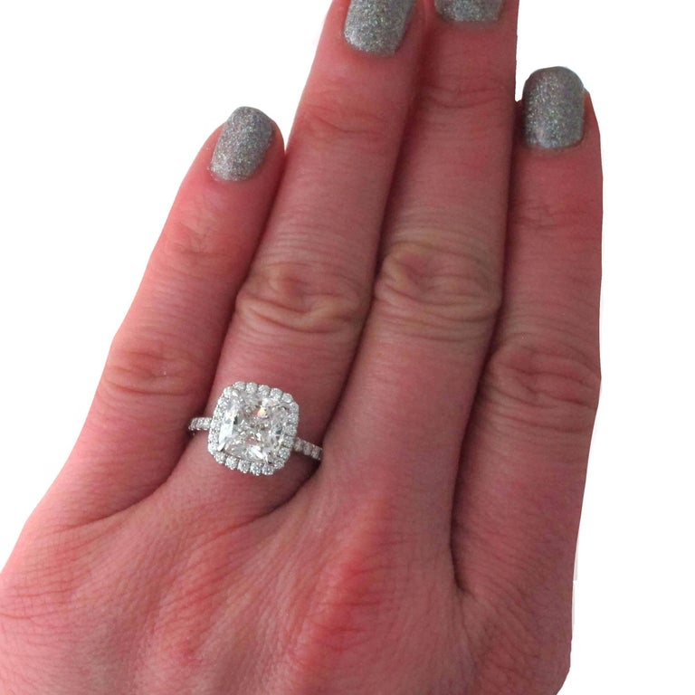 Women's 3.01 GIA Certified G-VVS1 Cushion Diamond Halo Engagement Ring. Retail $112,000 For Sale