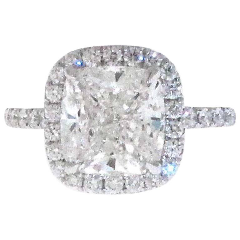 3.01 GIA Certified G-VVS1 Cushion Diamond Halo Engagement Ring. Retail $112,000 For Sale