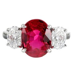 3.01 No Heat Ruby and E/Si2 Diamond Ring
