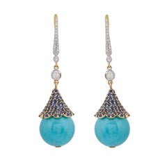 30.10 Carats Turquoise Blue Sapphire and Diamond 18KT Yellow Gold Earrings