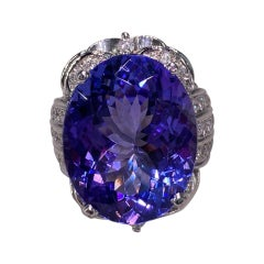 30.15 Ctw Tanzanite and Diamond White Gold Ring
