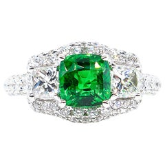 3.02 Carat AGL Natural No-Heat Tsavorite Cushion & Princess Diamond 3-Stone Ring