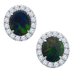 3.02 Carat Australian Opal with 1.12 Carat in Round Diamond 18k White Gold Studs