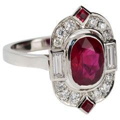 3.02 Carat Burmese Ruby and Diamond Art Deco Tablet Ring in 18 Karat White Gold