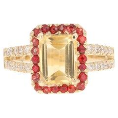 3.02 Carat Emerald Cut Citrine, Sapphire and Diamond 14 Karat Yellow Gold Ring