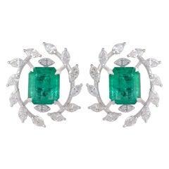 3.02 Carat Emerald Diamond 18 Karat Gold Stud Leaf Earrings