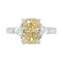 3.02 Carat Fancy Intense Brownish Yellow Radiant Cut Diamond Platinum Ring