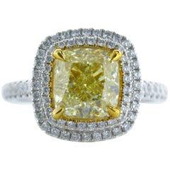 3.02 Carat Fancy Yellow Cushion Shape VS1 Diamond Reversible Ring Pendant 18K
