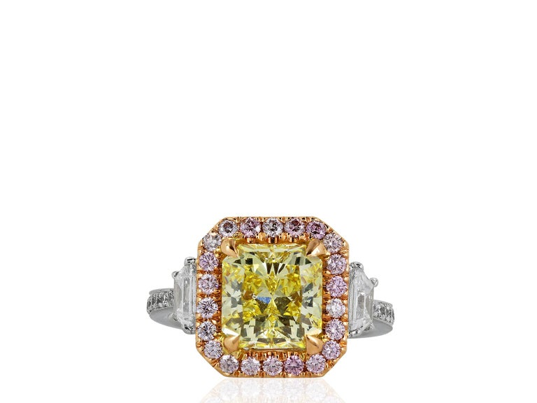 Radiant Cut 3.02 Carat GIA Certified Fancy Intense Yellow and Pink Diamond Engagement Ring For Sale