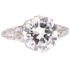 3.02 Carat GIA I VVS2 Diamond Platinum Engagement Ring