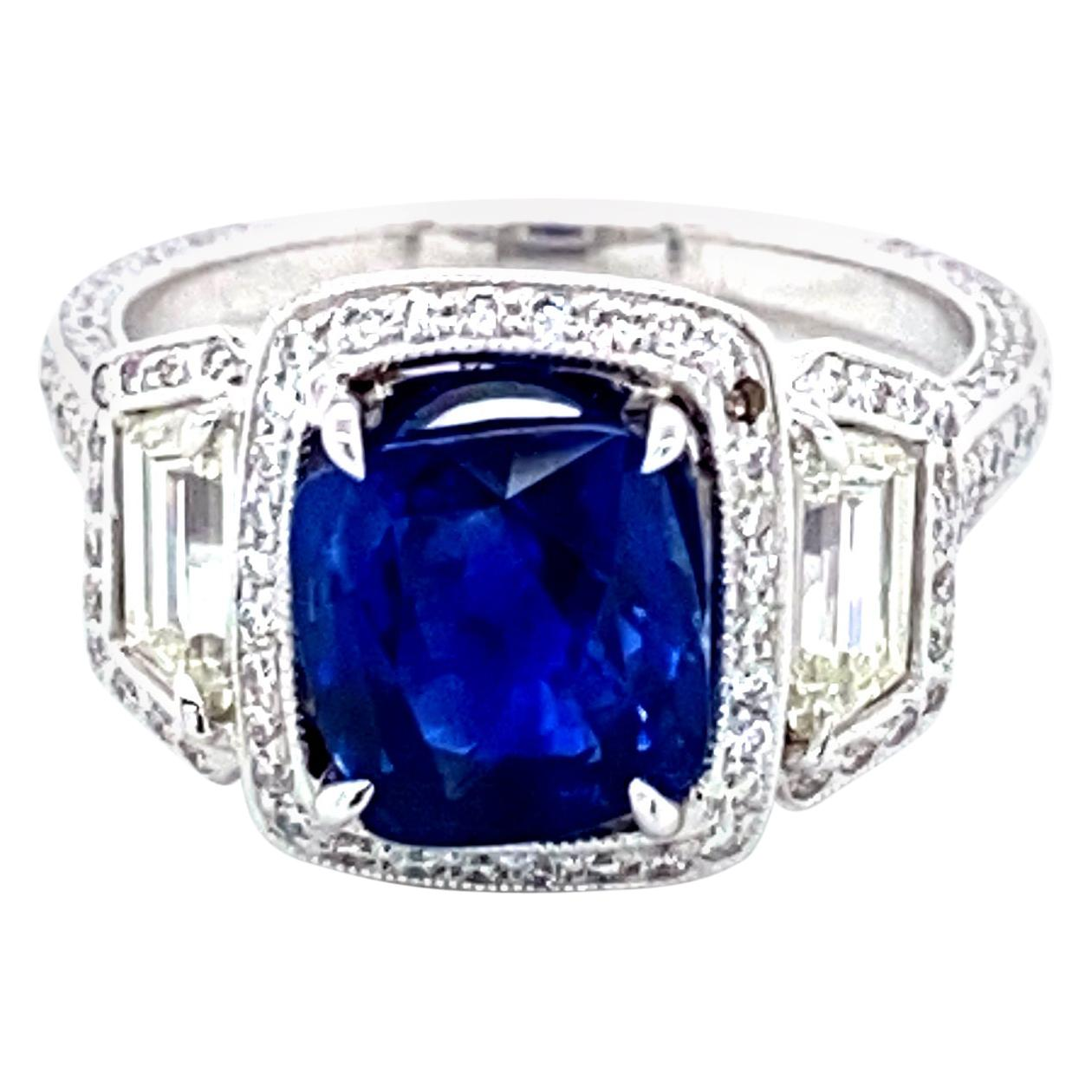 3.02 Carat GRS Certified Unheated Royal Blue Sapphire and Diamond Gold Ring