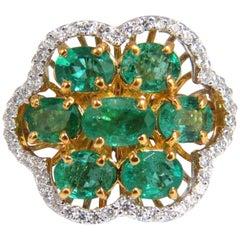 3.02 Carat Natural Oval Emeralds Diamond Cocktail Cluster Ring 14 Karat G/Vs