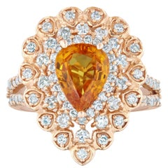 3.02 Carat Orange Sapphire Diamond 14 Karat Rose Gold Ring