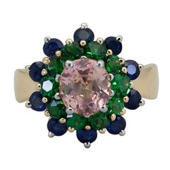 3.02 Carat Oval Cut Pinkish Sapphire and Tsavorite Cocktail Ring