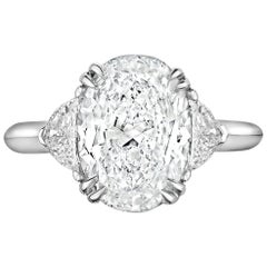 3.02 Carat Oval GVS1 GIA Diamond with Epaulets in Platinum Engagement Ring