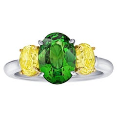 3.02 Carat Oval Green Tsavorite and Diamond Platinum and 18k Ring
