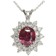 3.02 Carat Pink Sapphire Diamond Platinum White Gold Pendant Necklace Certified