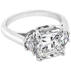 3.02 Carat Radiant Cut Diamond Platinum Ring with Half-Moon Side Diamonds