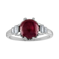 3.02 Carat Ruby Cabochon Diamond Platinum Ring