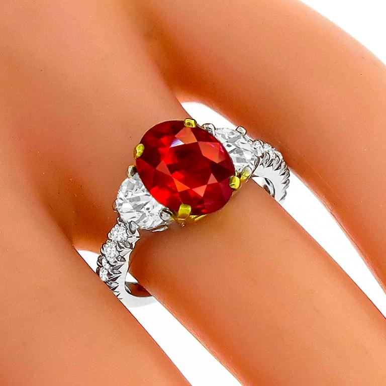 Oval Cut 3.02 Carat Ruby Diamond Platinum Ring For Sale