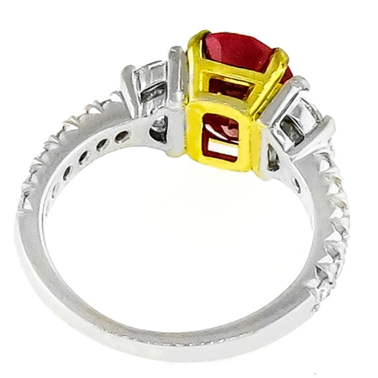 3.02 Carat Ruby Diamond Platinum Ring In Good Condition For Sale In New York, NY