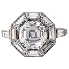 3.02 Carat Vintage Octagonal Step-Cut Diamond Geometric Ring by Hancocks