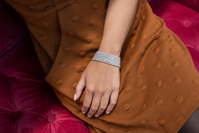 Contemporary 30.20 Carat Round Diamond Multi-Row Tennis Bracelet For Sale