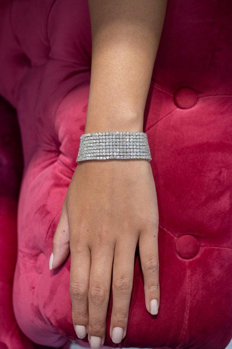 Round Cut 30.20 Carat Round Diamond Multi-Row Tennis Bracelet For Sale