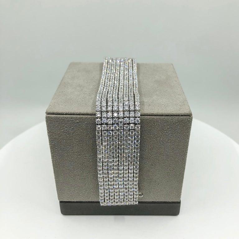 Women's or Men's 30.20 Carat Round Diamond Multi-Row Tennis Bracelet For Sale
