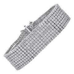 30.20 Carat Round Diamond Multi-Row Tennis Bracelet