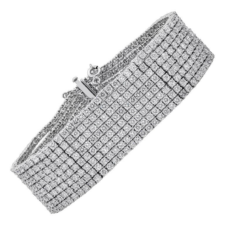 30.20 Carat Round Diamond Multi-Row Tennis Bracelet For Sale