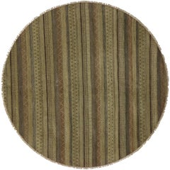 New Transitional Round Rug With Stripes and Modern Style