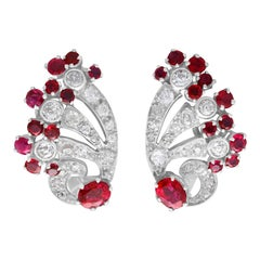 3.02ct Burmese Ruby and 2.10 Carat Diamond, Platinum and White Gold Earrings
