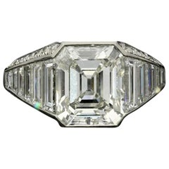 3.02Ct G VS1 Old Emerald Cut Diamond Ring w/ Taper Baguette & Diamond Shoulders