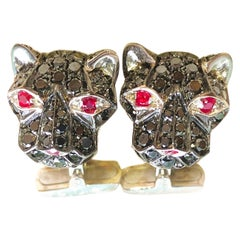 3.02Kt Black Diamond 0.32Kt Ruby Eyes Nose Cougar Head Shaped Gold Cufflinks