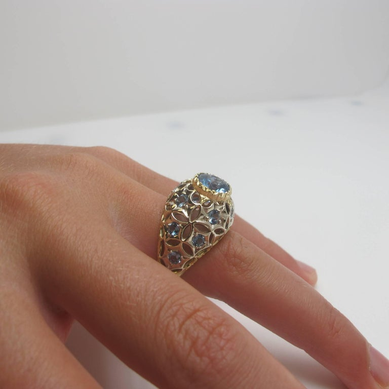 Aquamarine 18 Karat Yellow Gold Ring In New Condition For Sale In Los Angeles, CA