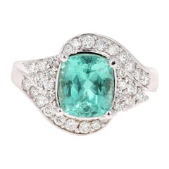 3.03 Carat Cushion Cut Apatite Diamond 14 Karat White Gold Engagement Ring
